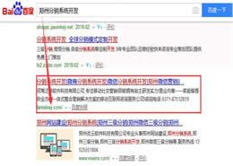 郑州微商分销系统首页排名案例